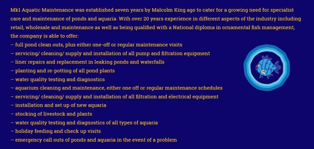 Aquatic maintenance in Surrey with free quatations service